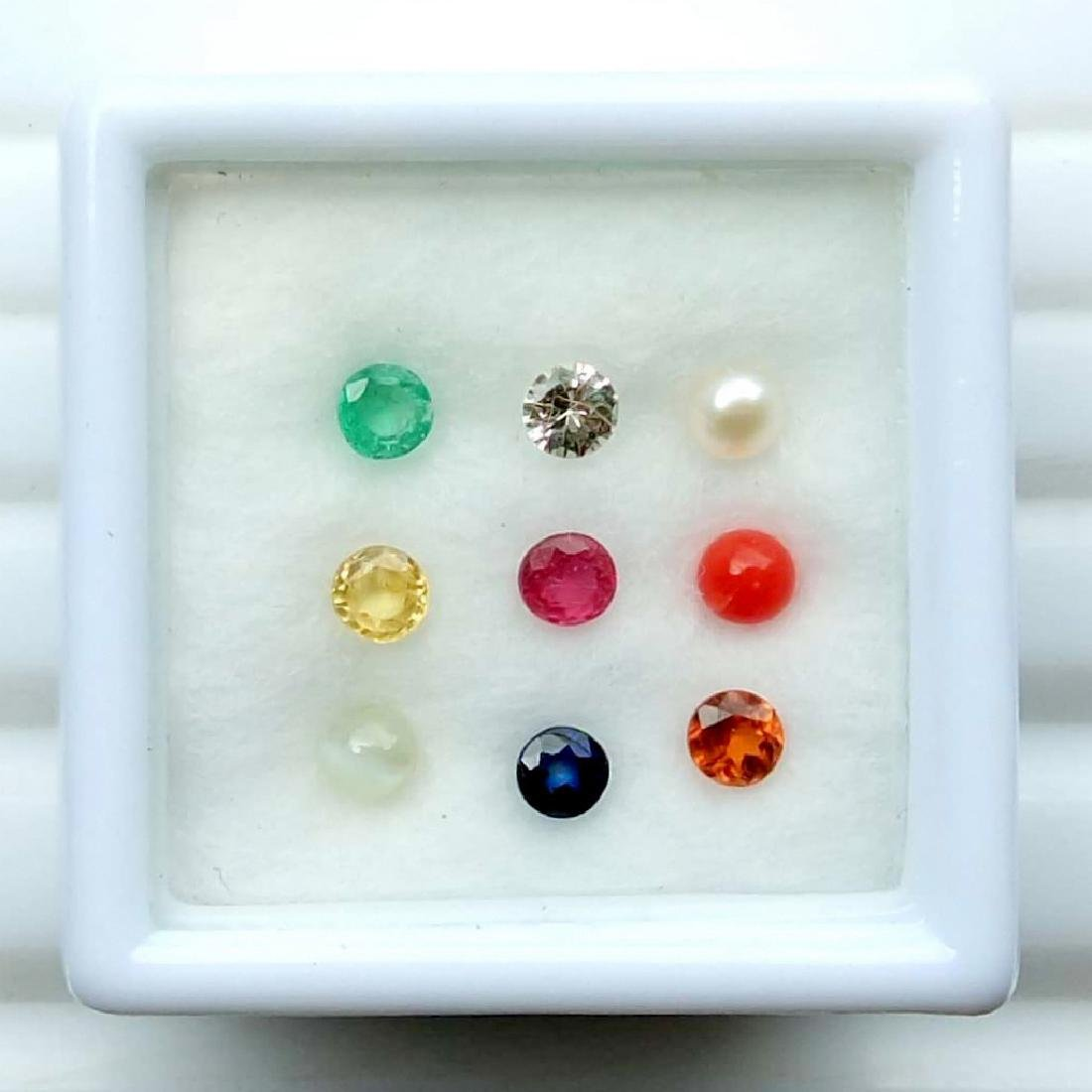 Calibrate 3 mm Round Natural Navratna 9 Gemstones Set