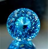 37.30 cts Round Shape Electric Blue Topaz Gemstone ~
