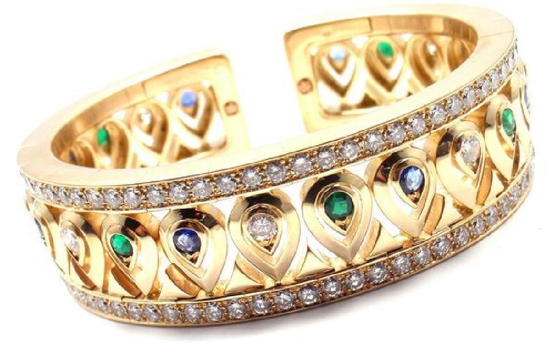 Authentic! Cartier 18k Yellow Gold Diamond Sapphire
