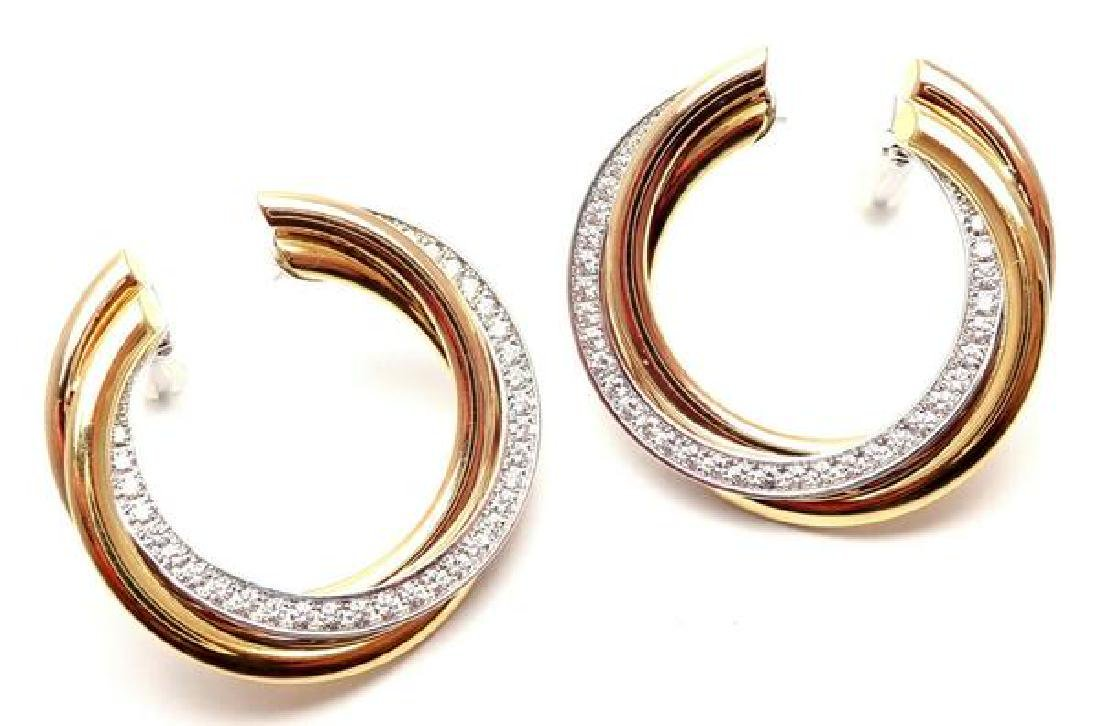 Authentic! Cartier Trinity 18k Tri-Color Gold Diamond