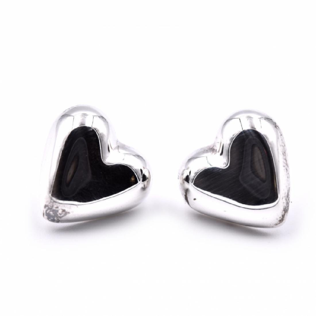 Tiffany & Co Sterling Silver Heart Stud Earrings