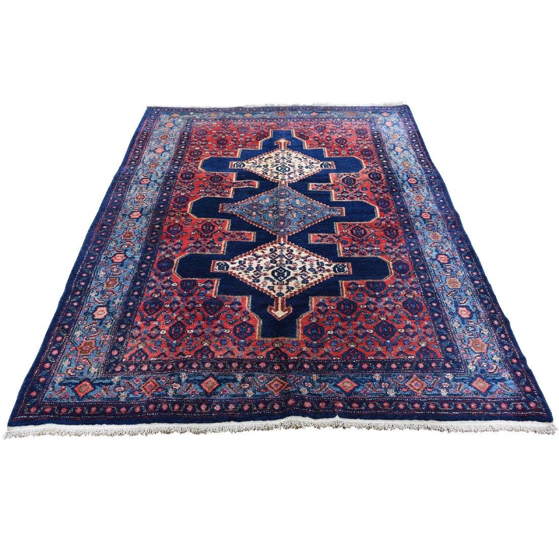 Navy Antique Persian Senneh Pure Wool hand-Knotted