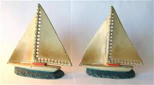Cast Iron Sailboat Bookends