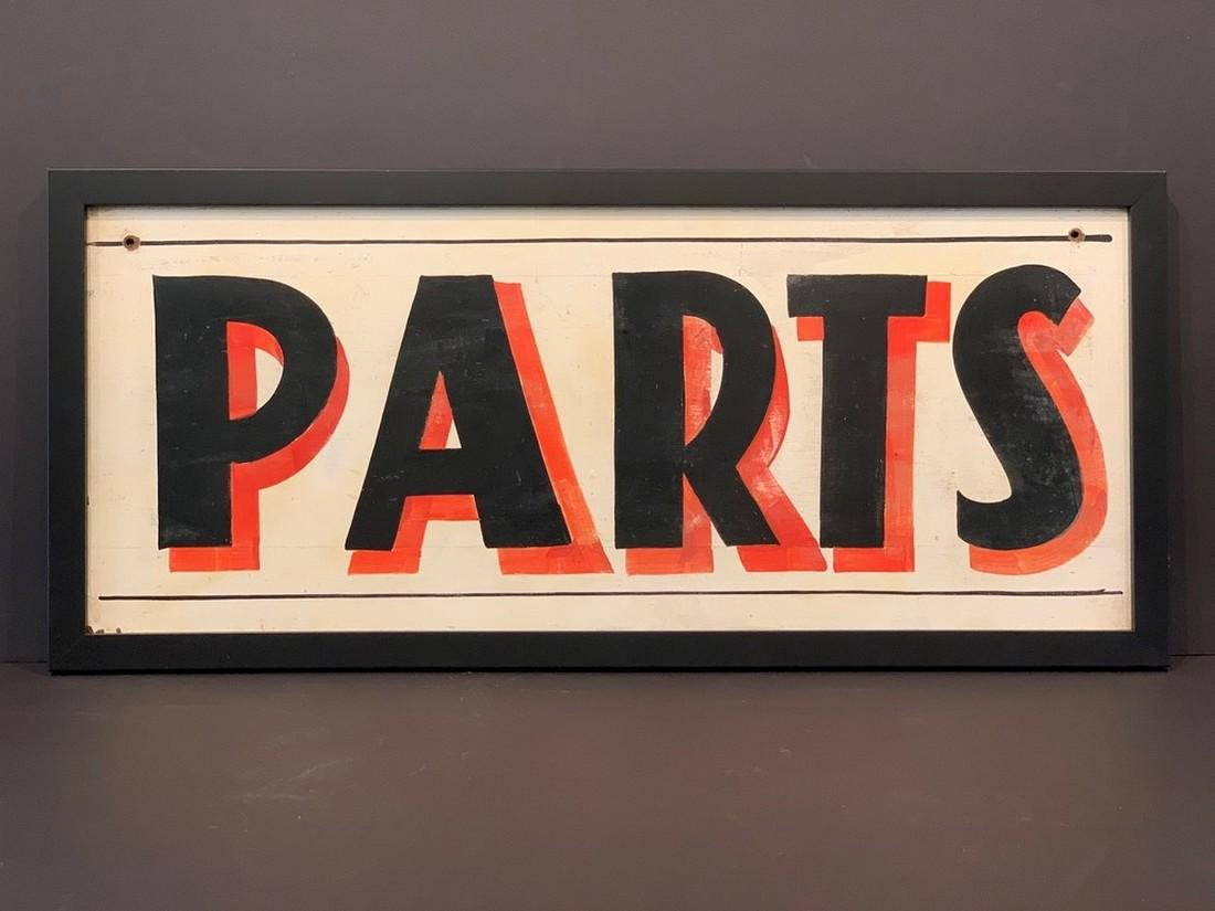 c. 1940 PARTS trade sign, midwestern.