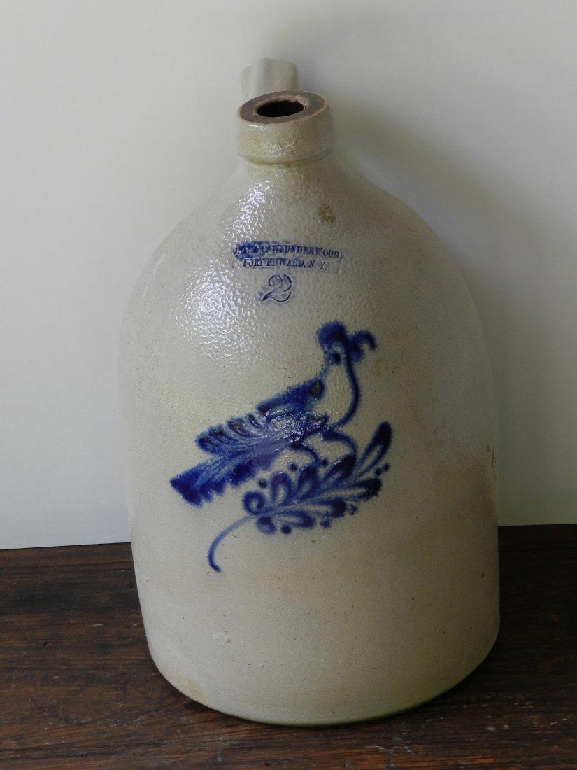 Stoneware Jug with Cobalt Decorated Bird