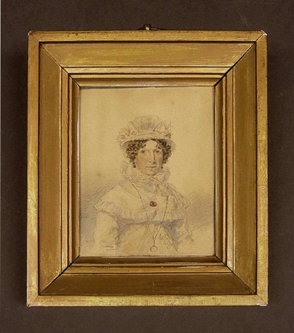 Very well done miniature watercolor portrait of a woman