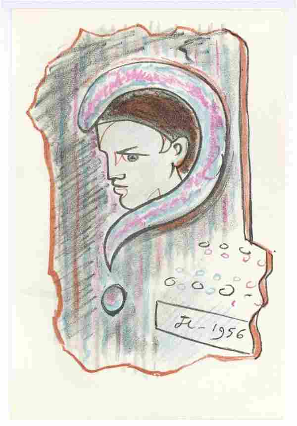 Jean Cocteau original lithograph | La Machine a Ecrire