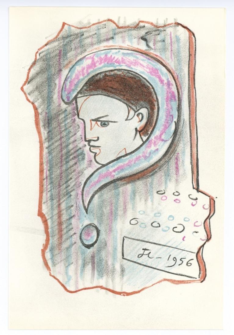 Jean Cocteau original lithograph   La Machine a Ecrire