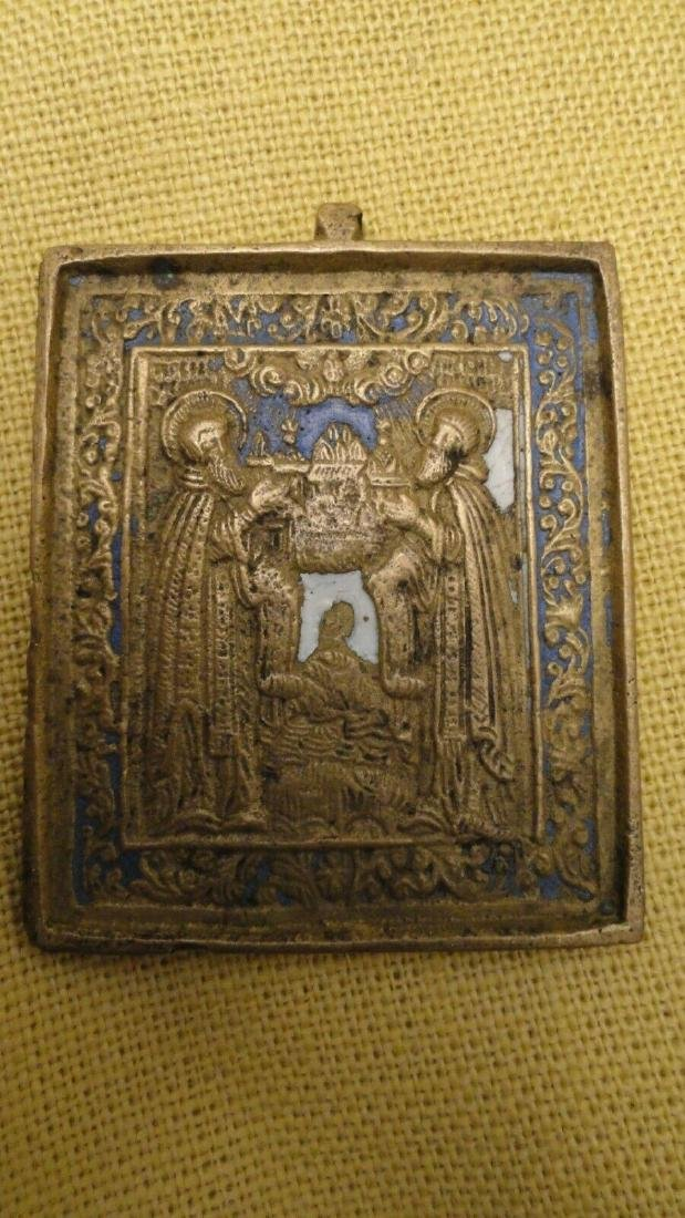 ANTIQUE RUSSIAN BRONZE PLAQUE ZOSIMA & SABBATY