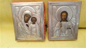ANTIQUE PARE OF SILVER RUSSIAN ICONS JESUS CHRIST AND