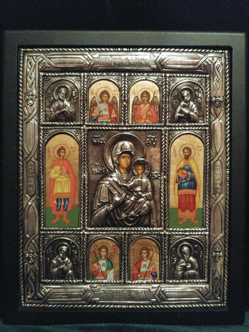 Greek Silver Icon of Mother of God and Selected Saints