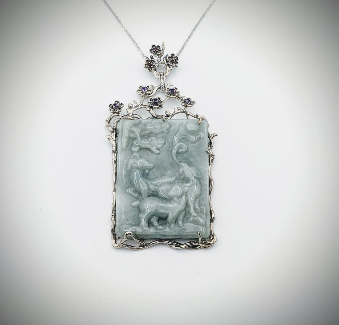 Necklace & Engraved Jade Pendant w Amethyst, Red Garnet