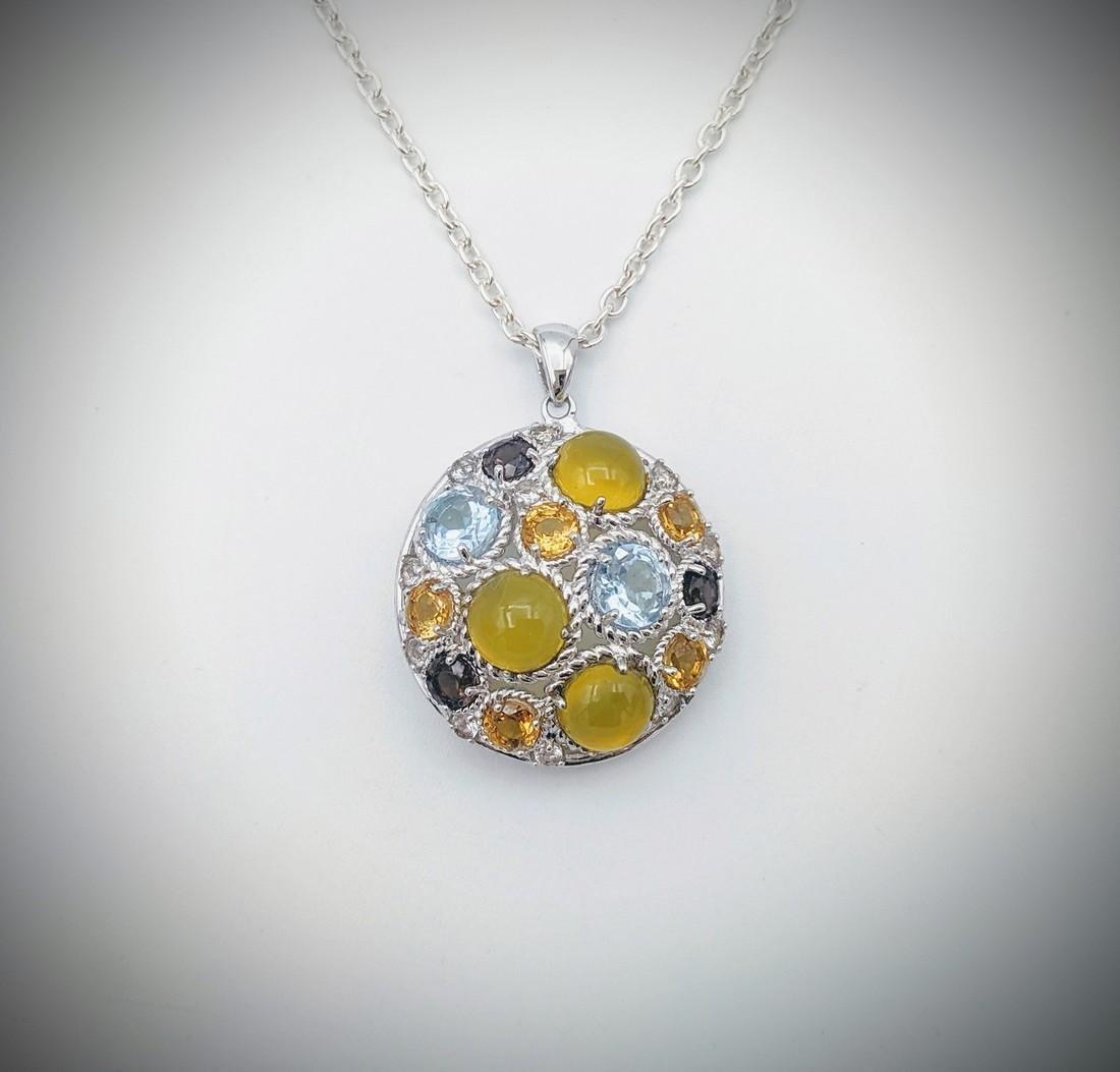 Necklace w Yellow Agate, Blue Topaz, Citrine & Amethyst