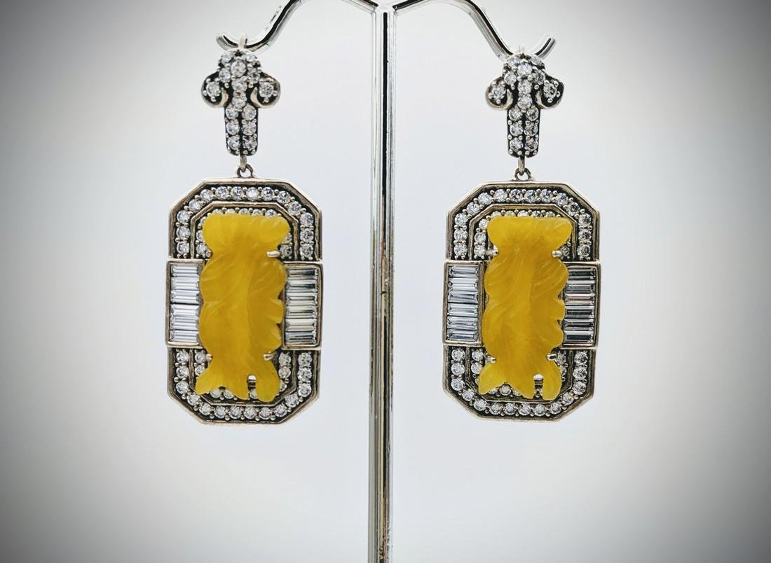 Sterling Silver Engraved Yellow Jadeite Earrings w CZs