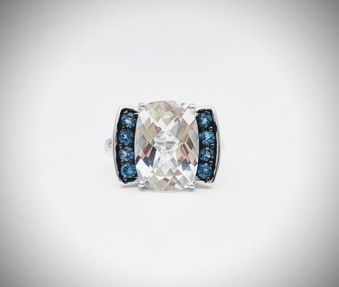 Sterling Silver Sz 7 Cubic Zirconia & Blue Topaz Ring