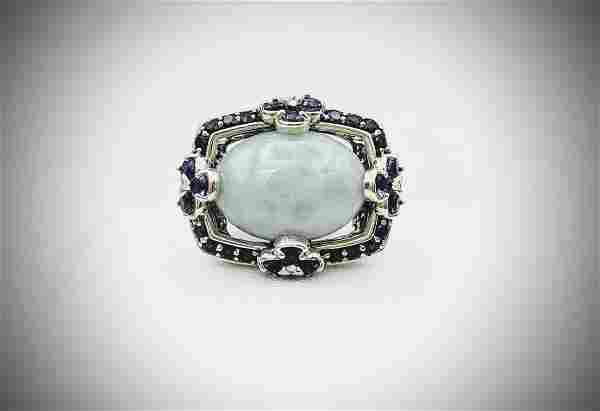 Sterling Silver Sz 7 Oval Jade Cocktail Ring w Amethyst