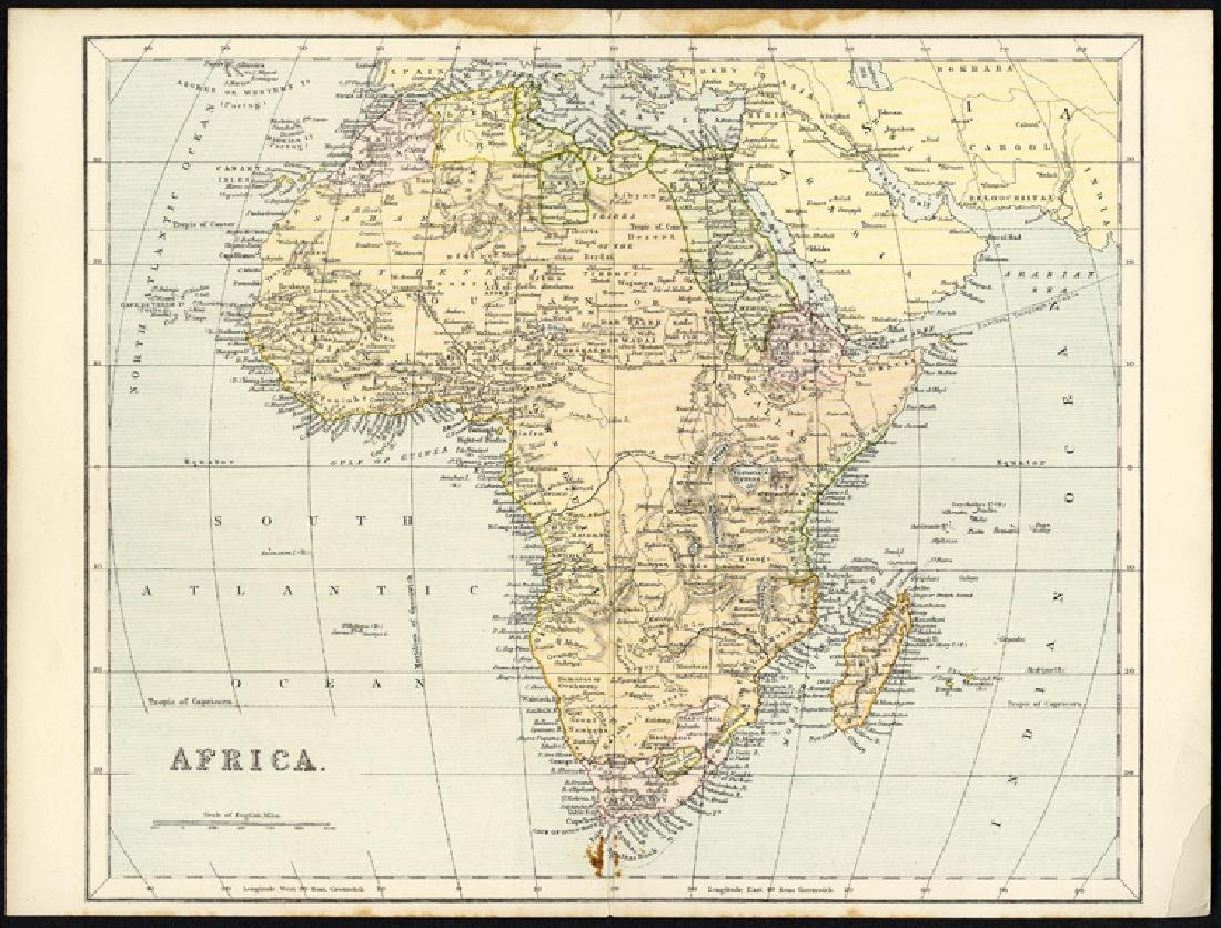 England 1880s map of AFRICA -AFRICA.