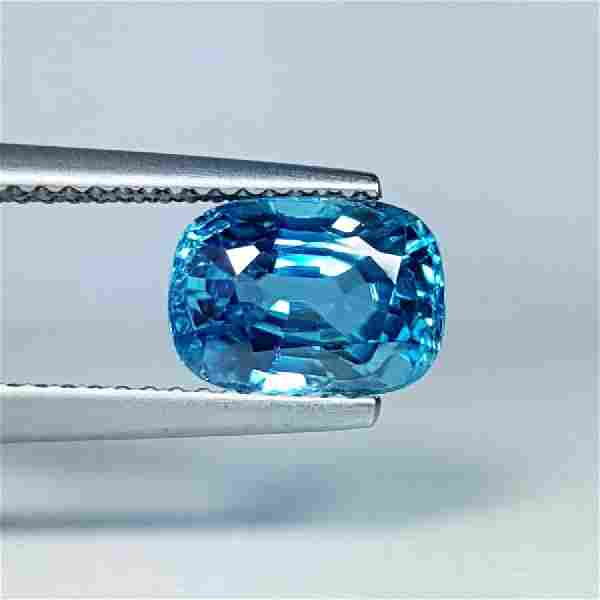 3.74 ct Collective Cushion Cut Natural Blue Zircon