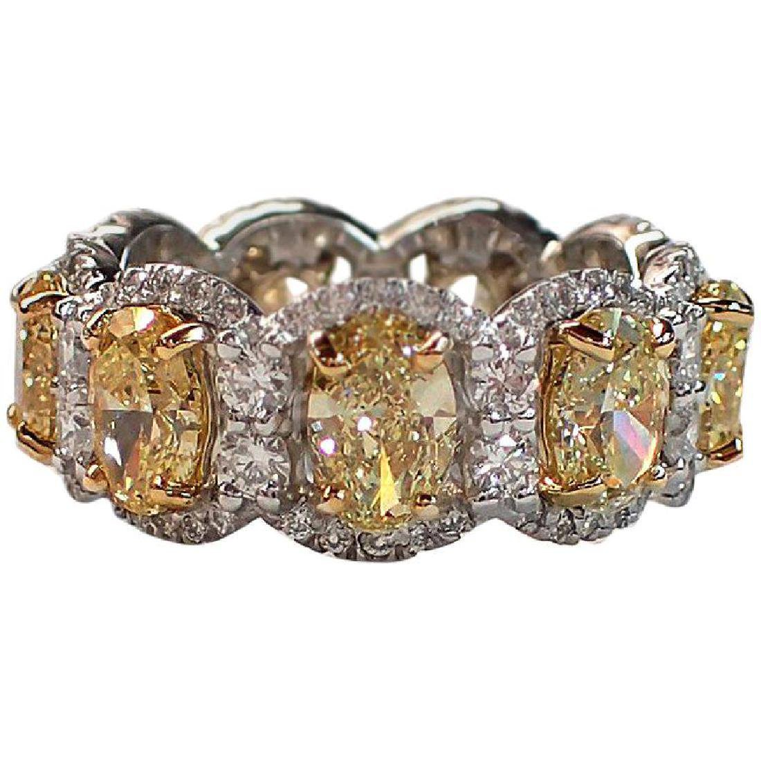 Fancy Yellow Oval and White Diamond Eternity Band