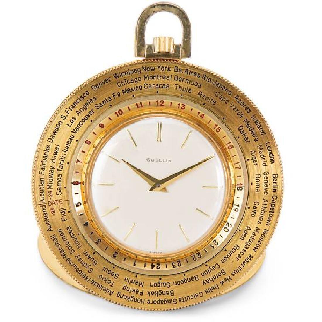Gubelin World Timer Pocket Watch in 14K Gold-Filled -