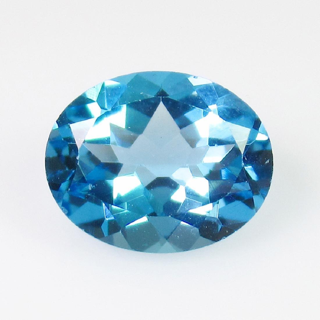 2.79 Ct Genuine Swiss Blue Topaz 10X8 mm Oval Cut