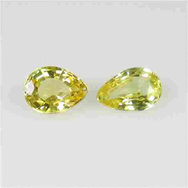 0.85 Ct Genuine Ceylon Yellow Sapphire Pear Pair