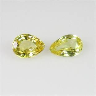 085 Ct Genuine Ceylon Yellow Sapphire Pear Pair