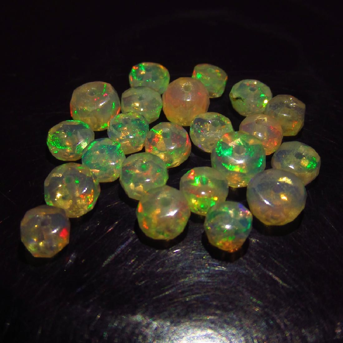 6.96 Ct Genuine 22 Drilled Round Faceted Opal Beads
