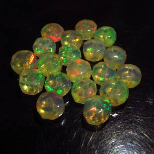 521 Ct Genuine 19 Drilled Round Faceted Opal Beads