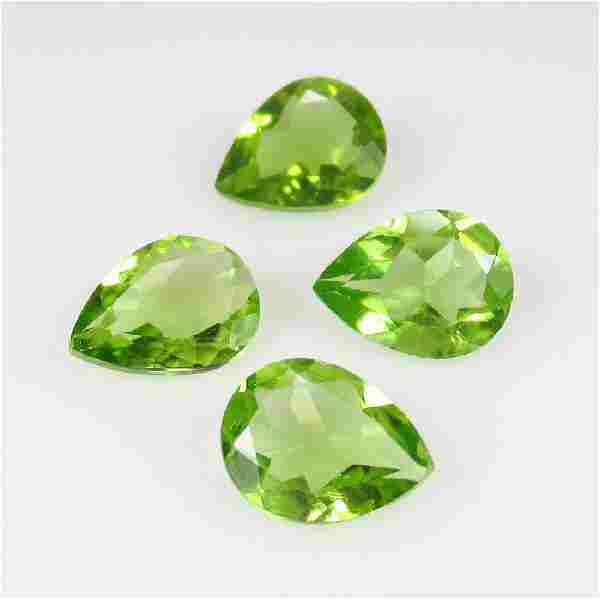 4.05 Ct Genuine 4 Pakistan Peridot Pear Set