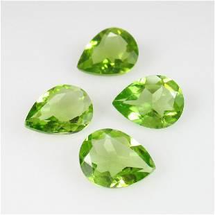 405 Ct Genuine 4 Pakistan Peridot Pear Set
