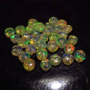 494 Ct Genuine 33 Drilled Round Faceted Opal Beads