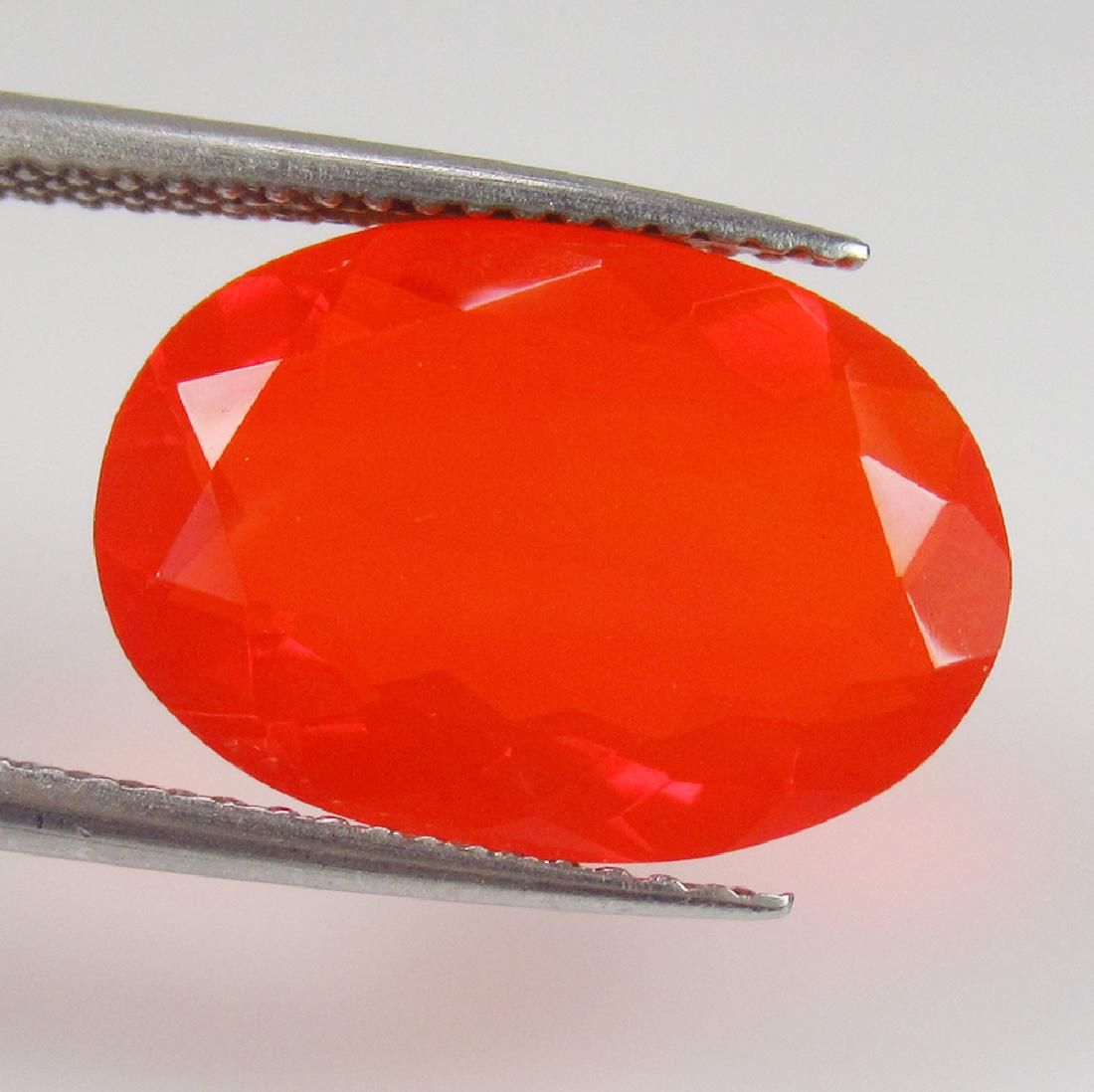 4.36 Ct Genuine Faceted Orange Fire Opal Oval Cab