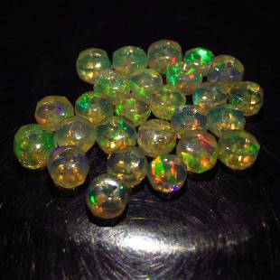 530 Ct Genuine 24 Drilled Round Faceted Opal Beads