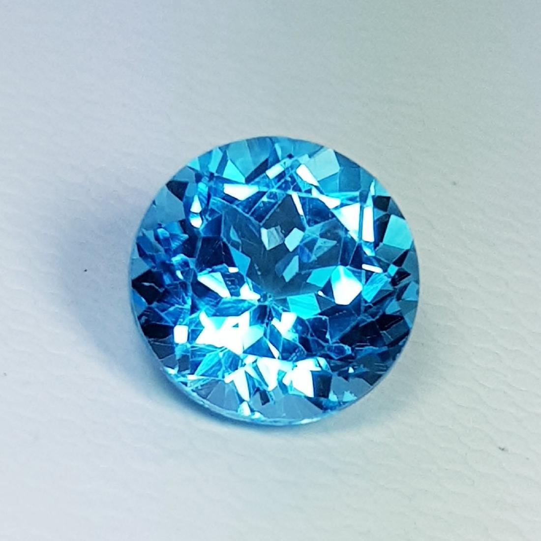 Natural Blue Topaz Round Cut 3.70 ct
