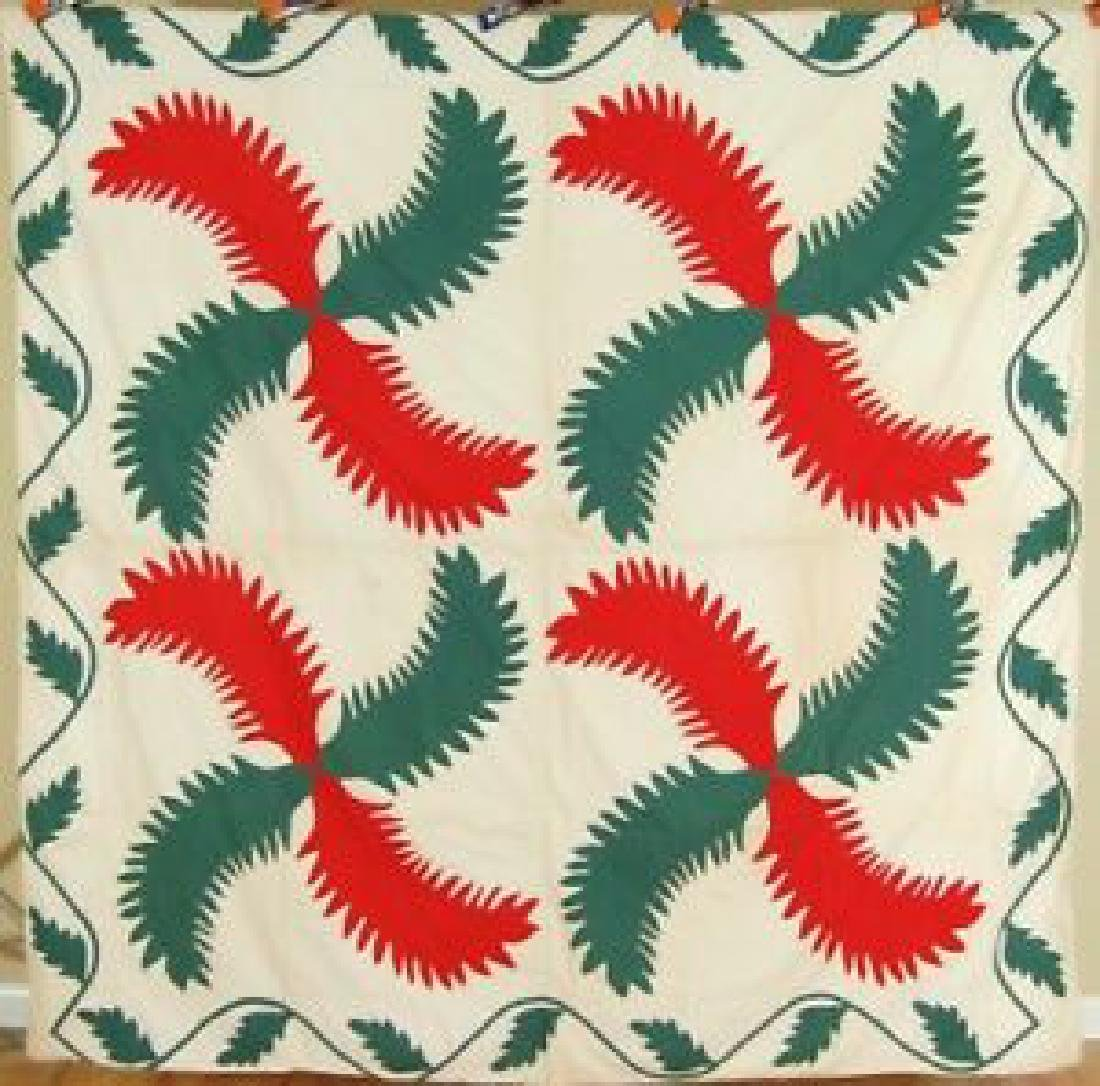 1880's Red & Green Princess Feather Applique