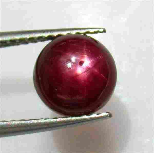 4.28 Ct Genuine Six Line Star Ruby Round Cab