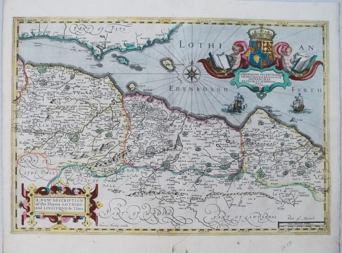 1638 Hondius Map of Edinburgh Environs in Scotland -- A