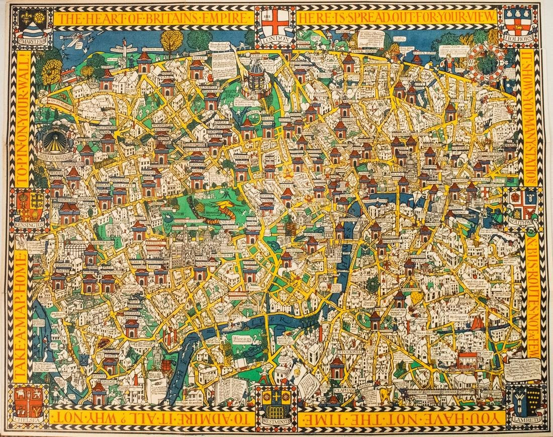 1928 MacDonald Gill Pictorial Map of London -- The