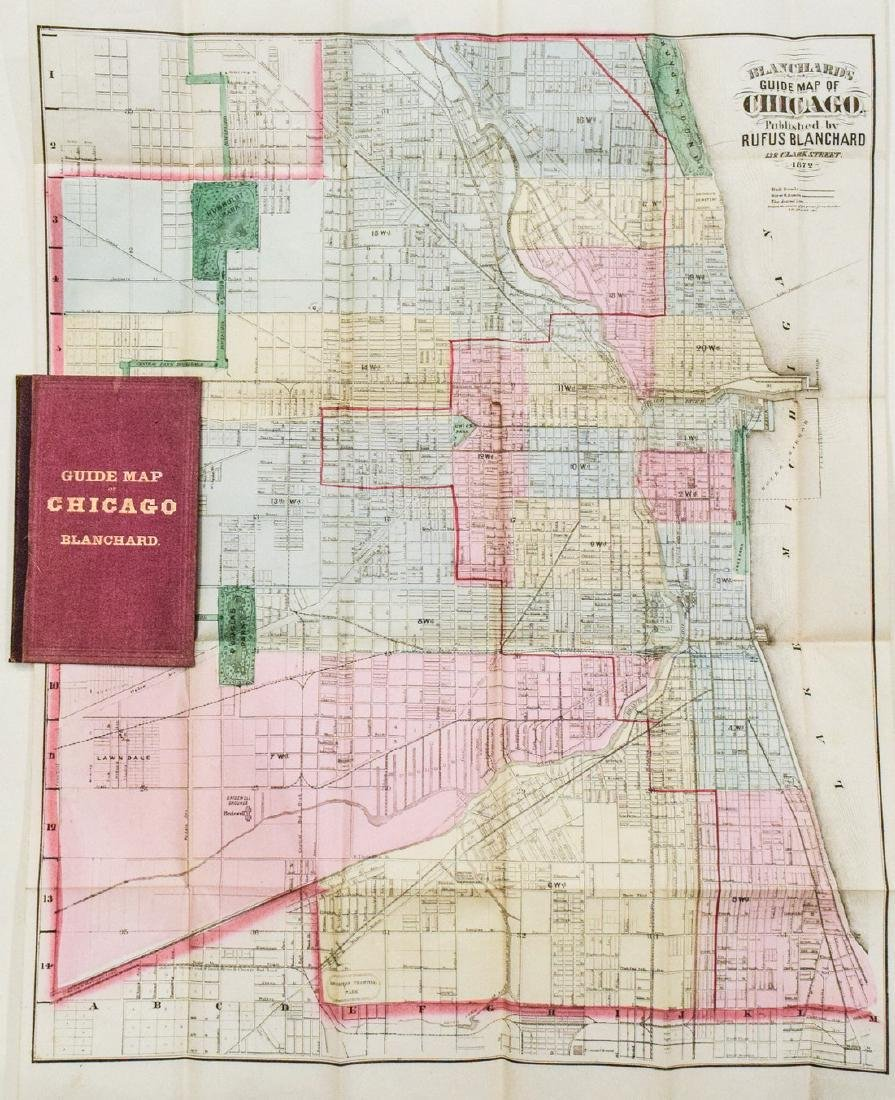 1872 Blanchard's Chicago Map One Year After the Fire --