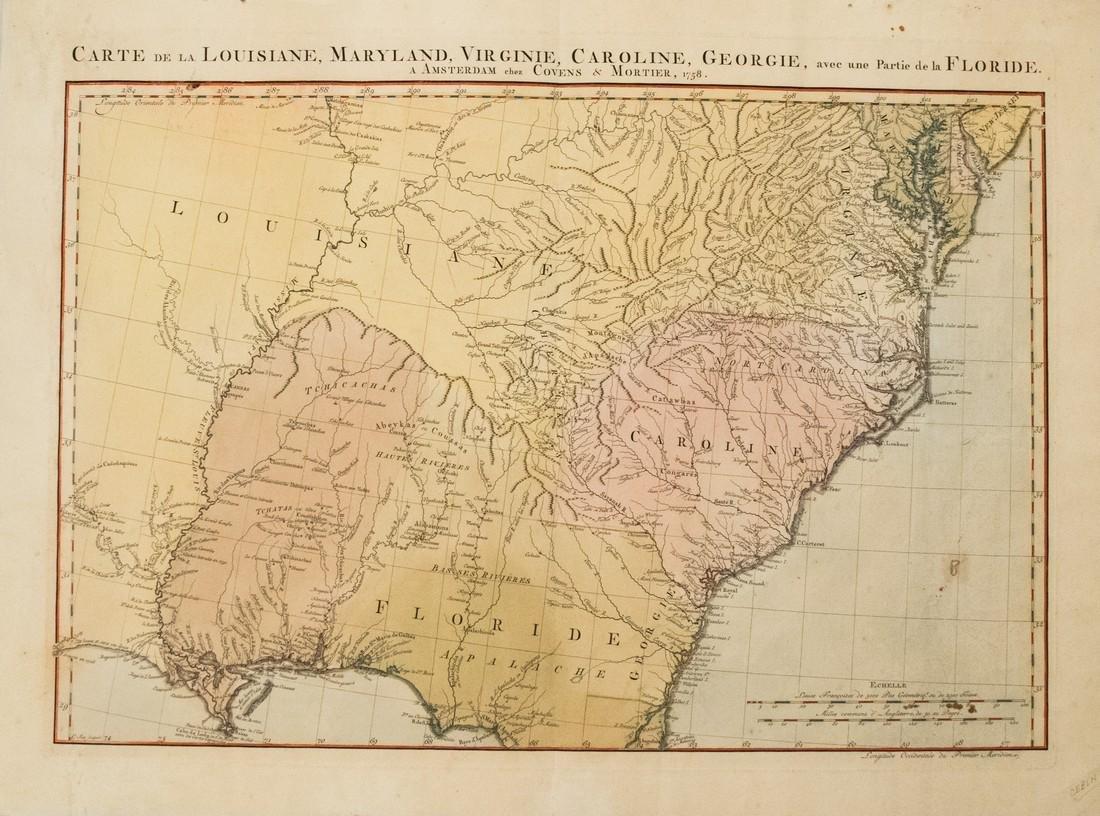 1758 Covens and Mortier Map of Southeast US -- Carte de
