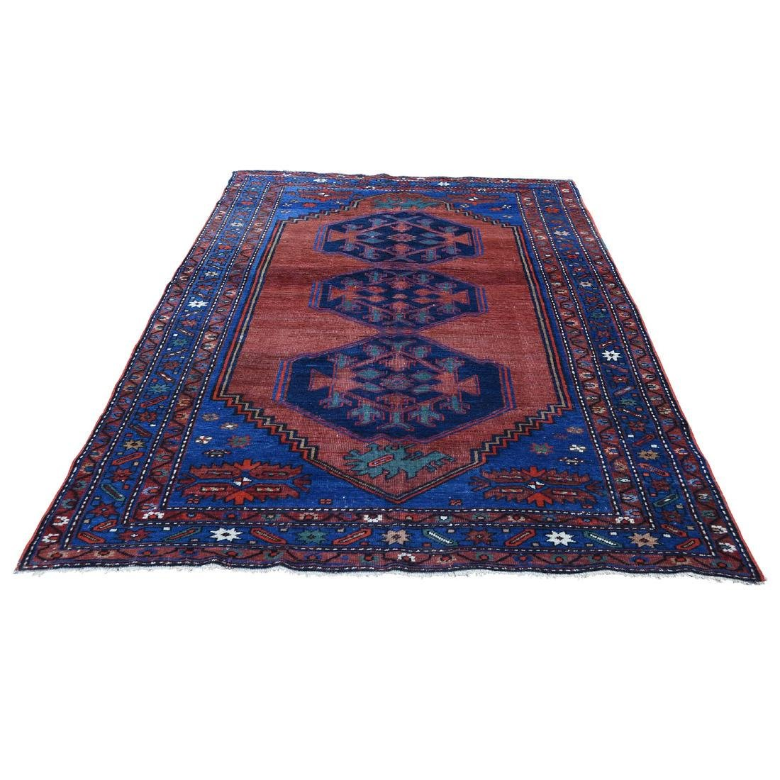 Red Persian Karabagh Even Wear Pure Wool Hand Knotted
