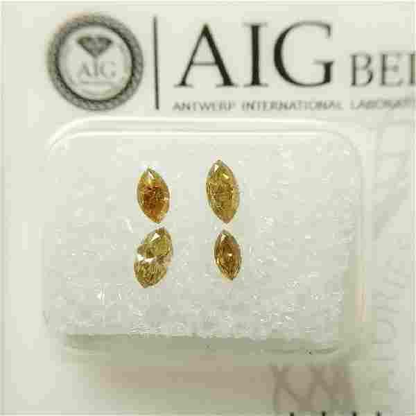 4 pcs Diamonds - 0.49 ct - Marquise - mixed colors -