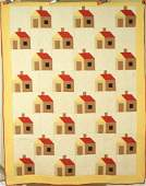 Vintage 40s House Log Cabin Antique Quilt