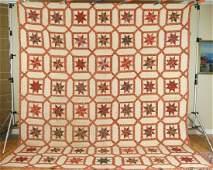 Vintage Early Chintz Stars Garden Maze Antique Quilt