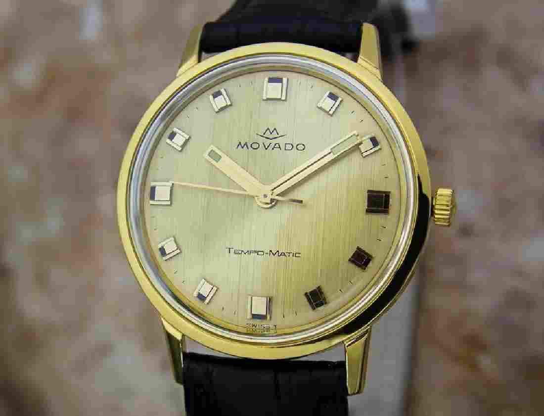 Movado Tempo Matic 14k Gold Swiss Made Mens 1960s