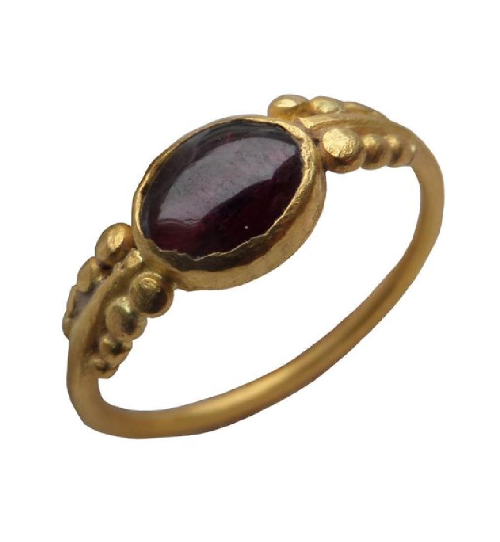 Early medieval Gold Merovingian Ring with Garnet Inlay