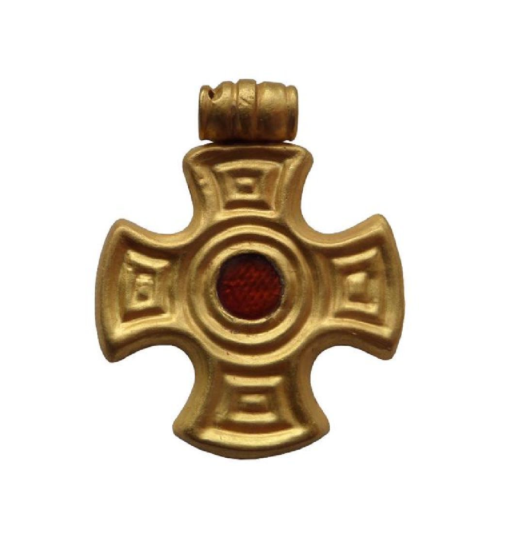 Early Medieval Merovingian Gold Cross pendant with foil