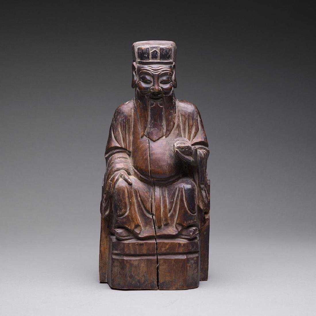 Qing Sculpture of a Taoist Deity