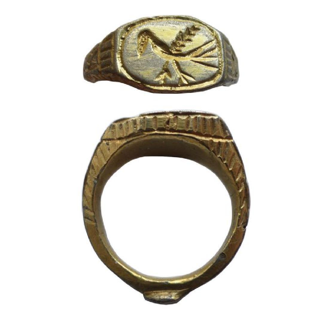 Medieval silver-gilt Time of Crusader Knights ring with